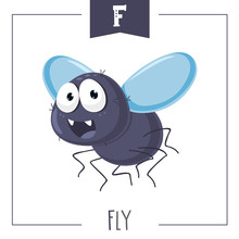 Vector Illustration Of Alphabet Letter F And Fly