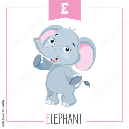 Ilustracja wektorowa litery alfabetu E i słonia
