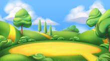 Nature Landscape. Park. 3d Vector Background