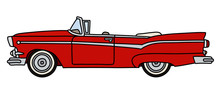 The Funny Old Red American Convertible