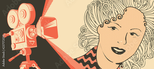 Fotografía  Vector banner on the theme of movie and cinema with old film projector and girl's face in retro style