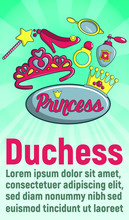 Duchess Concept Banner. Cartoon Banner Of Duchess Vector Concept For Web, Giftcard And Postcard
