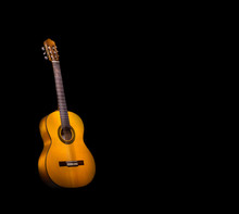 Guitare Flamenca Sur Fond Noir
