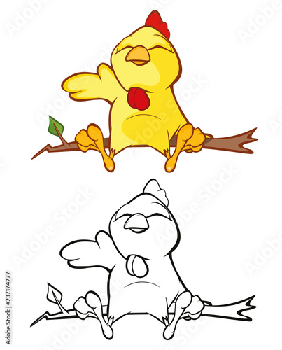 Illustration of a Cute Little Chicken Cartoon Character. Coloring Book
