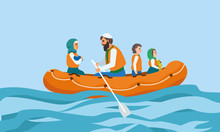 Boat Immigrant Family Concept Banner. Flat Illustration Of Boat Immigrant Family Vector Concept Banner For Web Design
