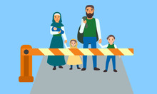 Immigrant People At Border Concept Banner. Flat Illustration Of Immigrant People At Border Vector Concept Banner For Web Design