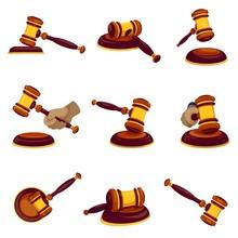 Judge Hammer Icon Set. Cartoon...