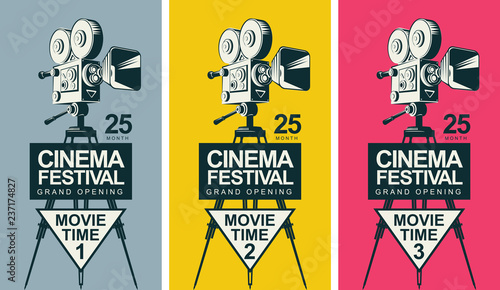 Photo  Set of three vector posters for cinema festival with old fashioned movie camera on the tripod in retro style