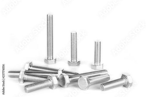 Fotografía  Metal screw or bolt and nuts isolated on white background