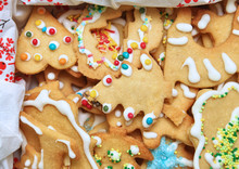 Christmas Cookies With Colorful Decorations.