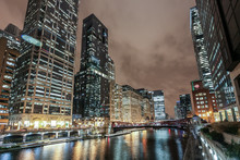 City Nightscape With River. Chicago, USA