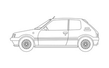 Old Small Car Blueprint - Side View. Outline Version. Vector.