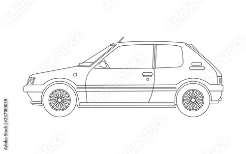 Old small car blueprint - side view  Outline version  Vector  - Buy