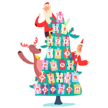 Christmas Advent Calendar With Tree Of Gifts, Cute Santa Claus, Elf And Reindeer. Vector Cartoon Illustration Isolated On A White Background.
