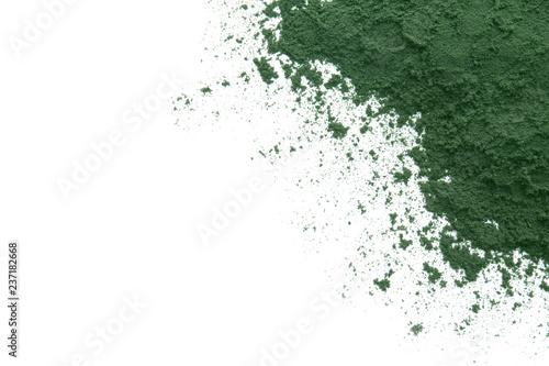 Fototapeta Healthy spirulina powder on white background