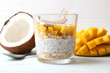 canvas print picture - chia pudding with mango, coconut and granola. Proper nutrition, superfood. Healthy breakfast, dessert.