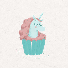 Minimalistic Illustration About Cupcake Unicorn On A White Background