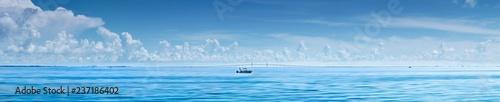 Fotografia, Obraz Fishing boat in front of Sunshine Skyway