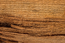 Yellow Brown Wood Old Wooden Plank With Thin Slivers And Horizontal Dark Cracks
