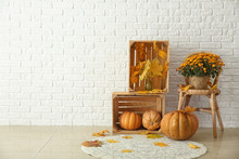 Beautiful Autumn Composition With Pumpkins And Leaves Near White Brick Wall