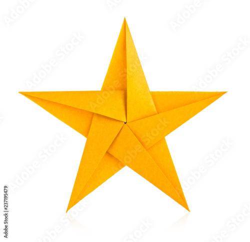Golden star of origami. Fototapete