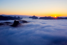 Morning Sunrise Over Mist .