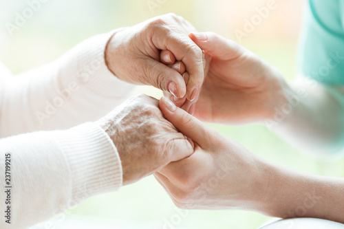Obraz Closeup of the hands of a young woman holding hands of an elderly lady - fototapety do salonu