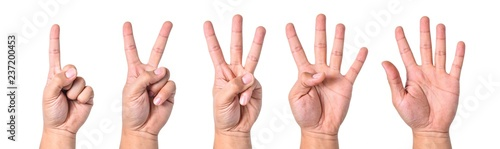 Group hand asian young man count finger collection isolated on white background Canvas-taulu