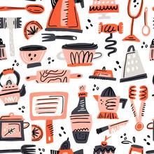 Cooking Flat Hand Drawn Seamless Pattern