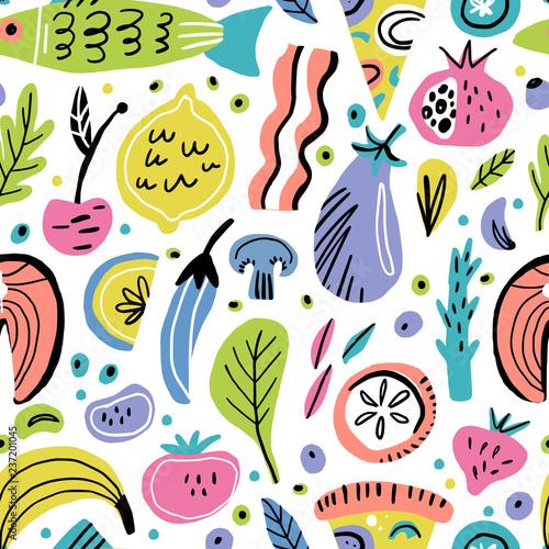 plaski-recznie-rysowane-wzor-zywnosci