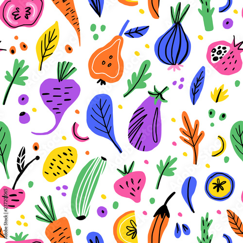 Tapeta do kuchni  fruits-and-vegetables-flat-hand-drawn-seamless-pattern