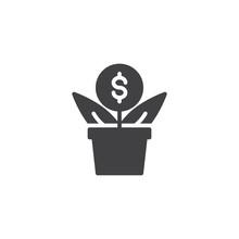 Money Flower Vector Icon. Fill...
