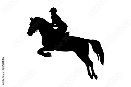 equestrian sport woman rider horse jumping competition Billede på lærred