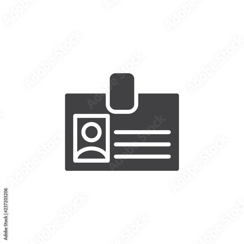 Fototapety, obrazy: Office Badge vector icon. filled flat sign for mobile concept and web design. ID card passport simple solid icon. Symbol, logo illustration. Pixel perfect vector graphics