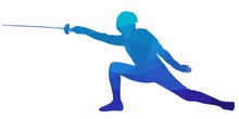 Illustration Of A Fencer , Vector Draw
