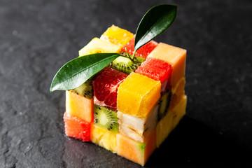 Fototapeta Fruit cube on white background