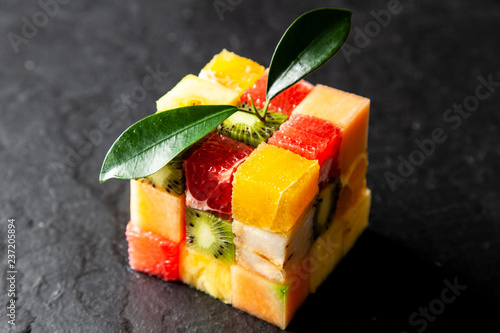 Fruit cube on white background
