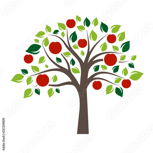 Fototapeta Flat Color Single Apple Tree
