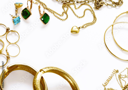 fototapeta na szkło gold jewelry - pendants, bracelets, rings and chains