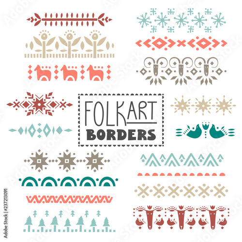 Vector collection of dividers, borders decorated with scandinavian folk patterns Wallpaper Mural