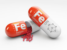 Pill With Iron FE Element. Die...