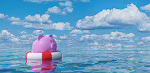 Piggy Bank In Lifebuoy On Blue...
