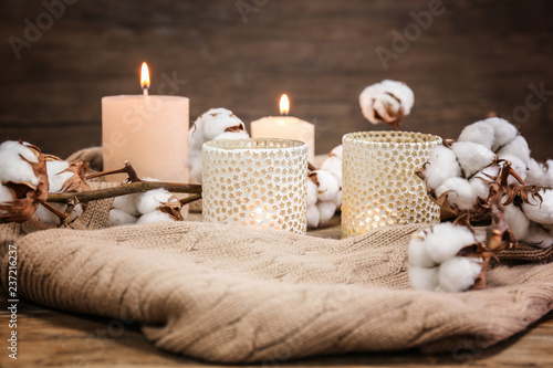Aluminium Prints Spa Candles, cotton flowers and warm plaid on wooden table