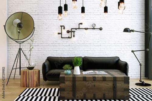 Fotografia  Livingroom design ,interior of industrial style, 3d Rendering, 3d illustration