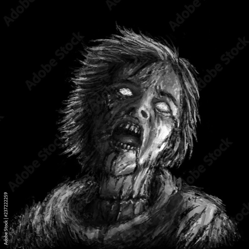 Photo  Screaming zombie woman illustration on black background.