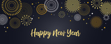 Happy New Year Background With Golden Fireworks. Gold And Black Card And Banner, Festive Invitation, Calendar Poster Or Promo Banner.