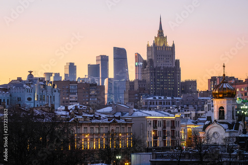 Poster New York view of Moscow at sunset from the Moskva River