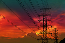 Silhouette Power Electric Pole And Electric Line Colorful Sunset Sky