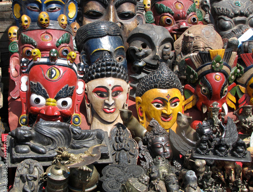 Nepal  All kind of masks as a souvenirs - Buy this stock