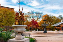 Autumn Park Scene In Wicker Park Chicago With A Fountain